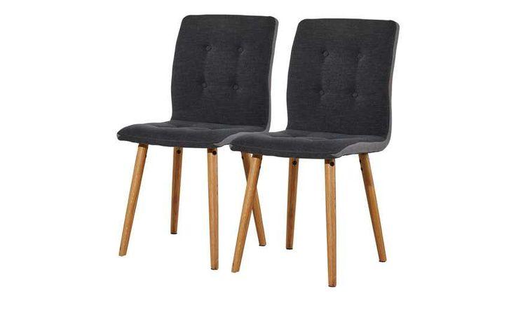 2er-Set Stühle Eiche dunkelgrau Friedel, gefunden bei Möbel