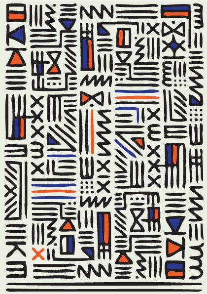 Pattern Knit by QUE DESIGN STORE, hieroglyphic pattern, geometric, orange blue & black, fabric design