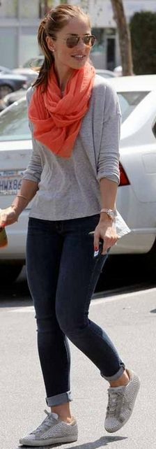 Who made Minka Kelly's brown aviator sunglasses and orange scarf?
