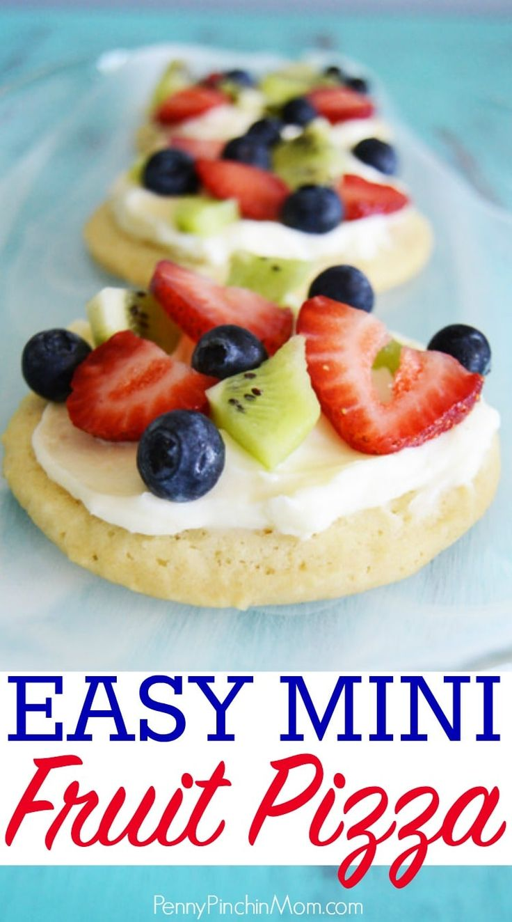 I love this simple mini fruit pizza concept! Similar to the larger version, but easier for kids to hold and perfect for parties!  Make one or an entire batch - the choice is yours.  It is perfect for your July 4th or Memorial day party, summer picnic or e