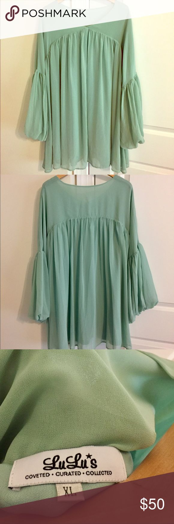 Lulu's Bohemian Mint Green Shirt Dress Super cute, great for a wedding or day out with friends!  Perfect spring color and great for any figure.  Extremely comfortable!  Only worn once! Lulu's Dresses Mini