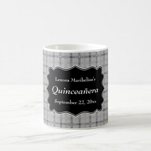 Gray Check Pattern Quinceanera Coffee Mug