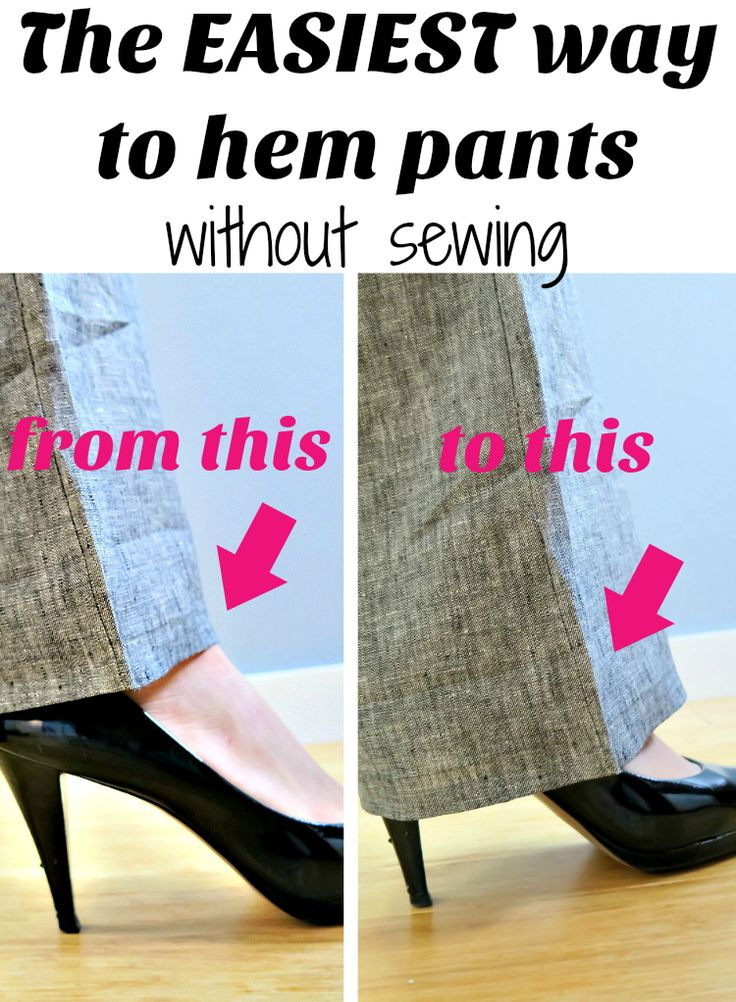 Hem your pants easily without sewing in 5 minutes. Step by step tutorial.