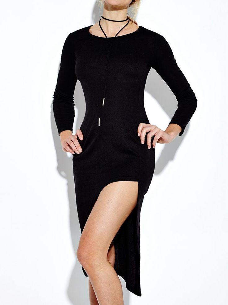 Sexy Irregular Slit Hem Long Sleeve O-neck Women Dress