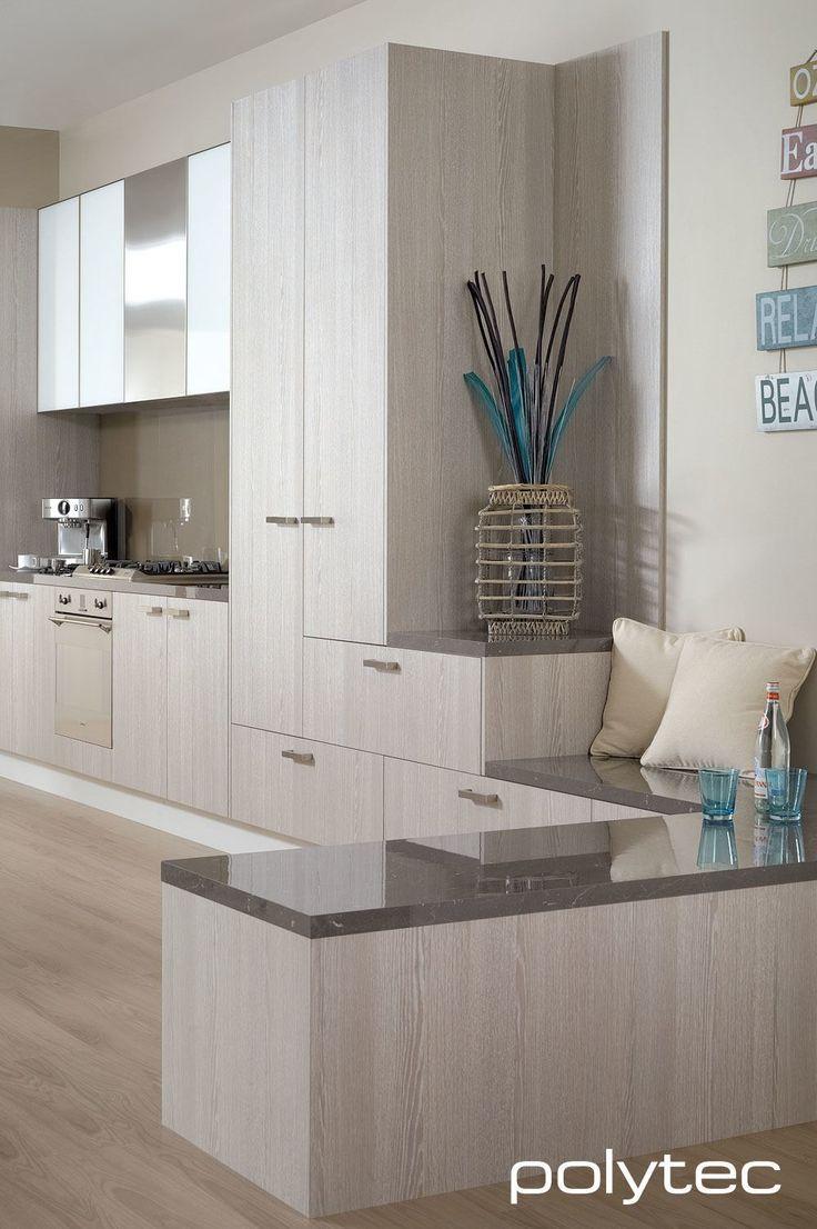 Overhead cupboard door frams  in 5mm/55mm Brushed Stainless Overhead cupboard doors  in Starphire White glass insert