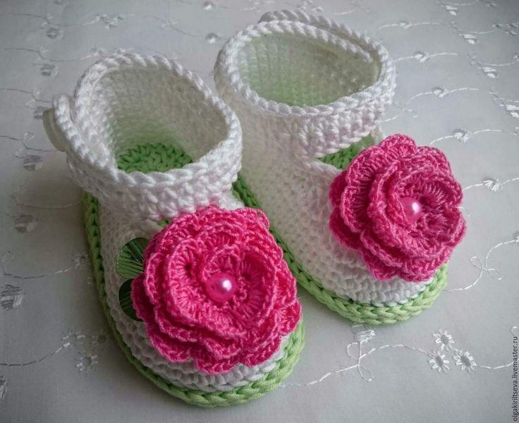 """Купить Пинетки вязаные """"Маленькая леди"""" - комбинированный, пинетки в подарок, пинетки вязаные, для новорожденных, для девочки"""