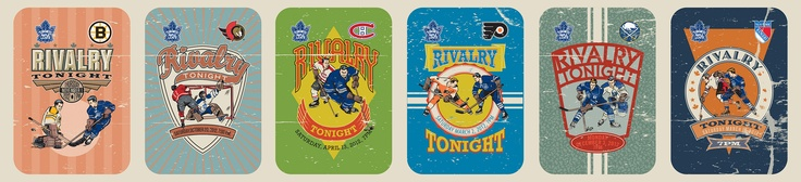 Illustrations for Toronto Maple Leafs 2012-13 Rivalry Night tickets by Guy Parsons.