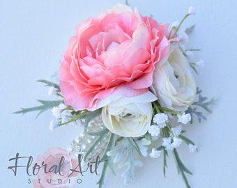 Boda ramillete ramillete de flores de seda, ramillete de bolso de mano, ramillete de ranunculus Coral, accesorios de la boda, ramillete de la muñeca, Pin en ramillete.