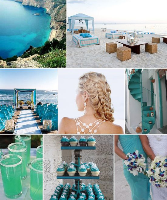 Teal White Greek Wedding