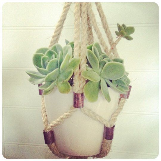 DIY Sisal Rope and Brass Fittings Hanging Planter {The Urchin Collective, via Apartment Therapy}