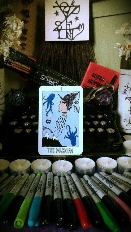 """upthewitchypunx: """" It somehow seems fitting that after I finish construction both my equinox altar and my DIY altar and a new sigil that I would draw the Magician card for today. The symbolism expressed on this card escapes me. It just looks weird,..."""