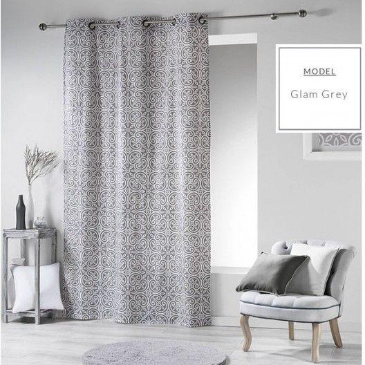 VINTAGE okenné škandinávske závesy sivej farby