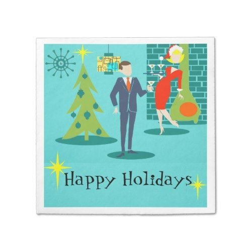Retro Holiday Cartoon Couple Cocktail Napkins