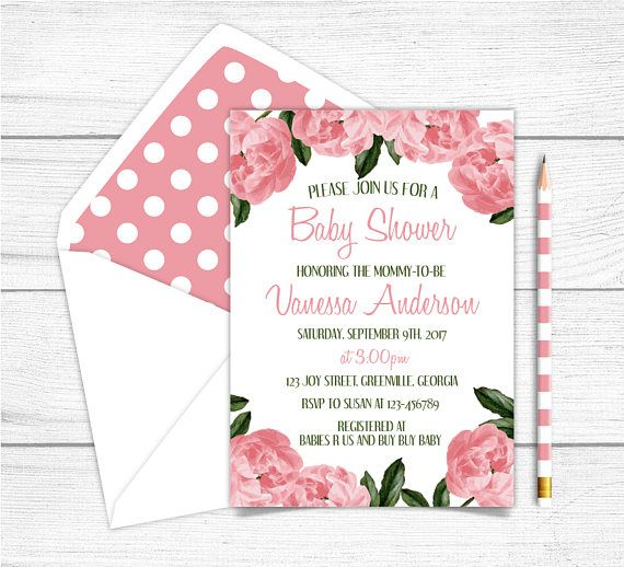 Printable Girl Baby Shower Invitation Pink Peonies Baby