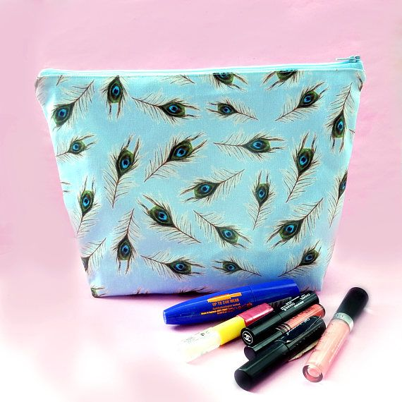 Peacock feather makeup bag  large cosmetics bag  pretty blue