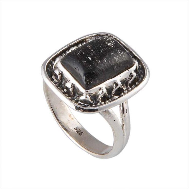 925 STERLING SILVER BLACK RUTILE 5.16g FANCY RING JEWELLERY #DSJ #RING