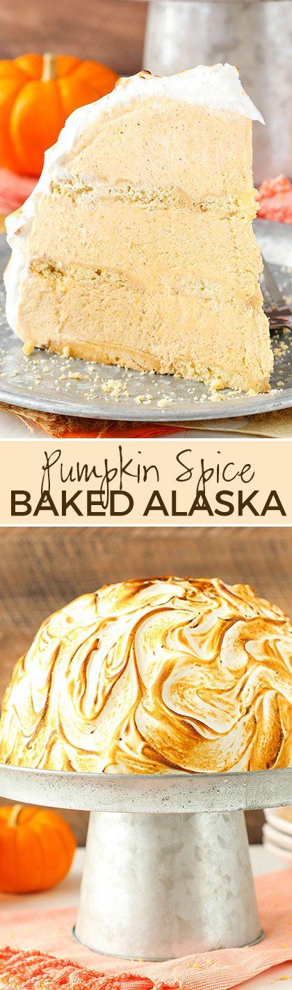 No Bake Pumpkin Spice Baked Alaska - no churn pumpkin spice ice cream, Walkers shortbread and meringue topping! Easy and so good!