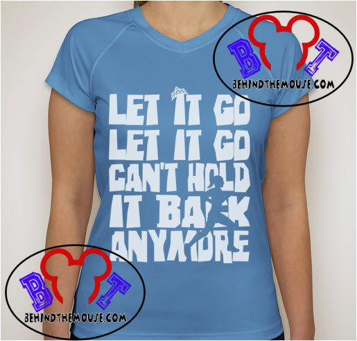 runDisney Elsa Frozen Let It Go Performance Running Shirt Lite Blue