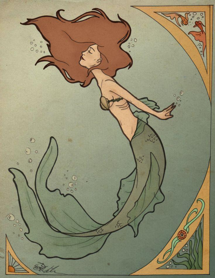 Art Nouveau Mermaid by ~SerenityMonkala on deviantART