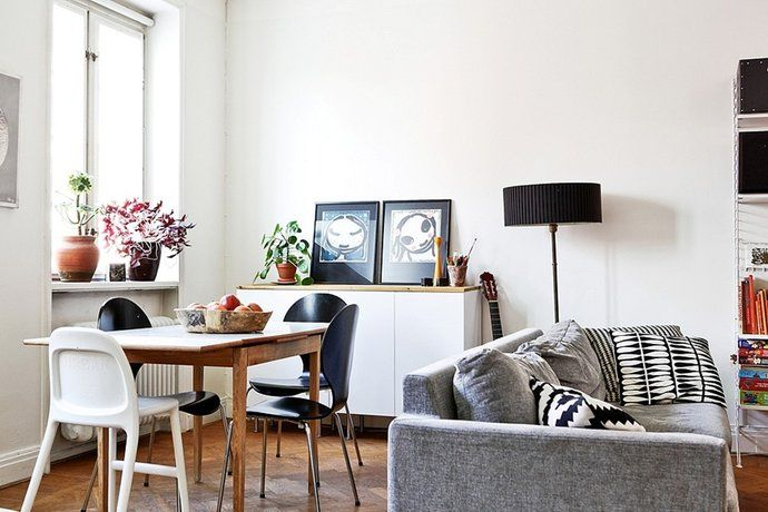 Cosy Lounge and Dining | Grey Couch | Vintage Wood Dining Table | Indoor Plants | White Space