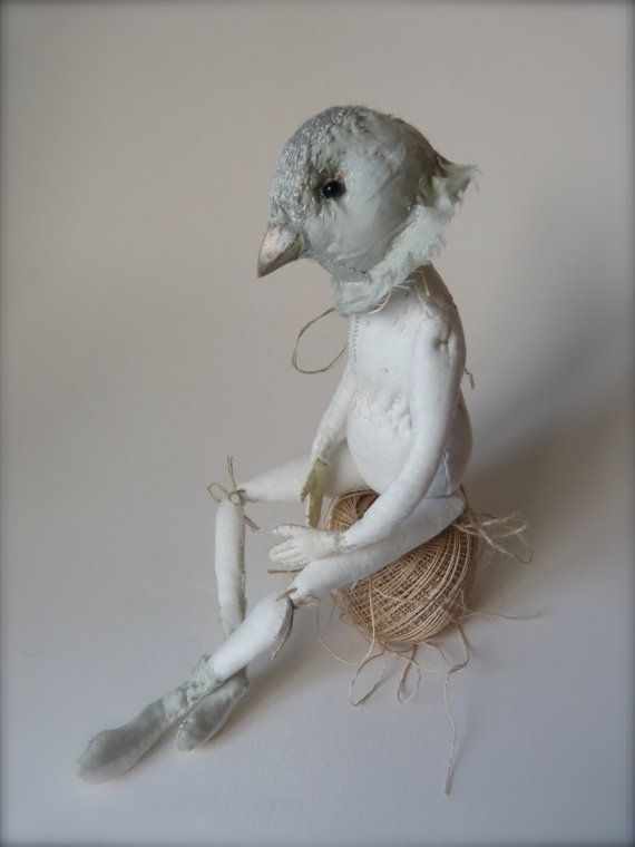 Little Bird Child 2  Linen and Silk Cloth Art Doll by ThePaleRook