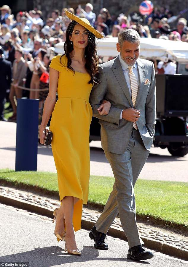 92db68a8 Amal Clooney, 40, sparked a 1,500 per cent increase in searches for yellow  dresses and 17,000 searches for mustard Stella McCartney gowns after  attending ...