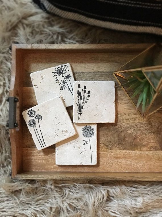 Assorted Natural Stone Coasters, Travertine Wildflowers Coasters, Designer Stamped, Set of 4, Farmhouse Decor, Spring Housewarming Gift