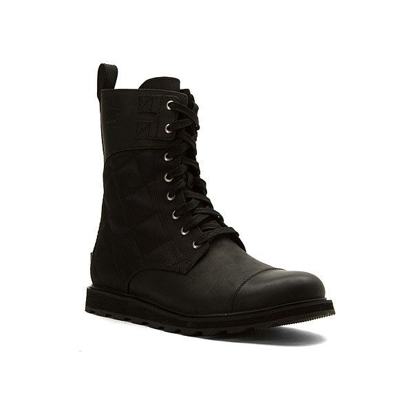 SOREL Madson Tall Lace  Boots ($220) ❤ liked on Polyvore featuring men's fashion, men's shoes, men's boots, black, boots, men, mens tall black boots, sorel mens boots, mens tall boots and mens black boots