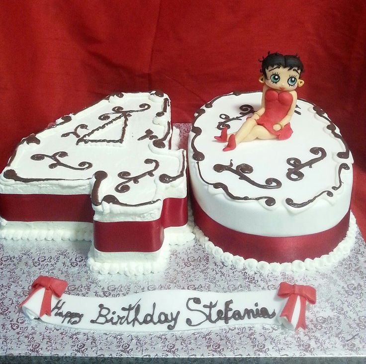 TORTA COMPLEANNO 40 QUARANTA BETTY BOOP BIANCA E ROSSA SCULTURA IN PASTA DI ZUCCHERO CAKE BIRTHDAY FONDANT RED AND WHITE