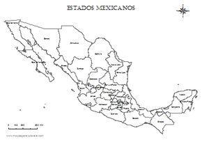 Mapa de México por estados para colorear.
