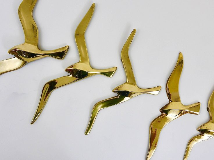 Five Wall-Mounted Midcentury Seagull Bird Brass Sculptures, Austria, 1950s | From a unique collection of antique and modern sculptures at https://www.1stdibs.com/furniture/decorative-objects/sculptures/