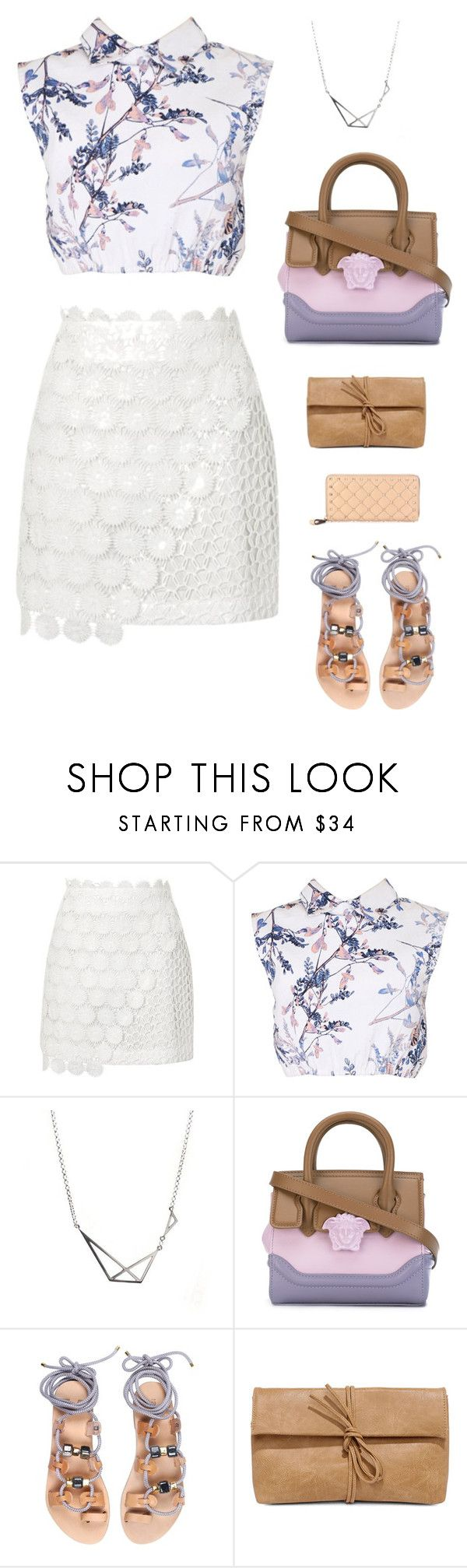 """""""Versace Small Palazzo Empire Tote Bag"""" by sol4nge ❤ liked on Polyvore featuring Topshop, may, Versace, Iris, LULUS, Valentino and festivalfashion"""