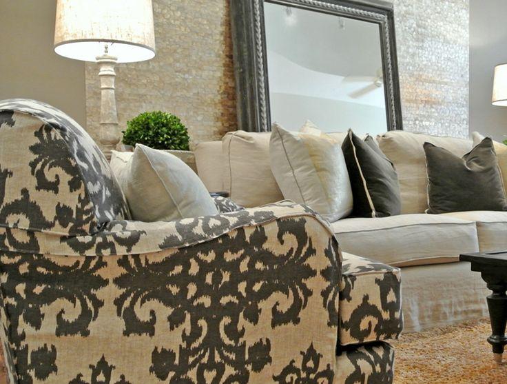 Quatrine Custom Furniture   Inspiration #blackandwhite #floormirror  #slipcovers #pillows #chic