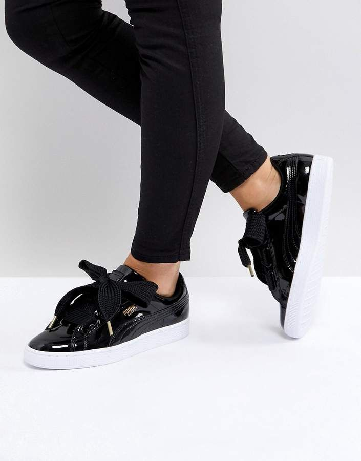 size 40 92390 8aa33 Puma Basket Heart Trainers In Patent Black | Footwear | Puma ...