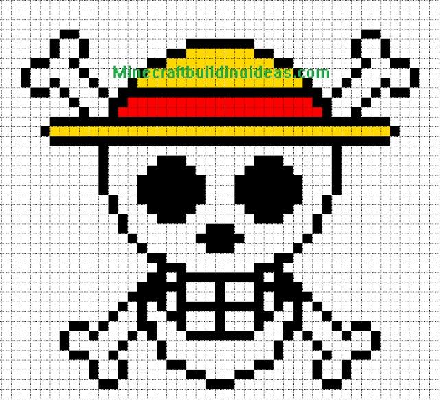 Minecraft Pixel Art Templates: Straw Hat Luffy | Minecraft ...
