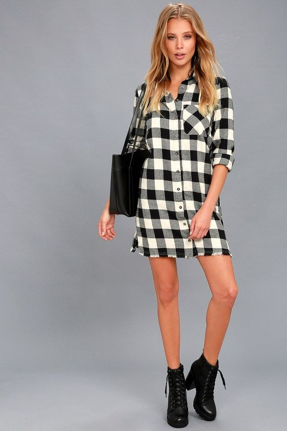 Neck of the Woods Black and White Plaid Shirt Dress 2