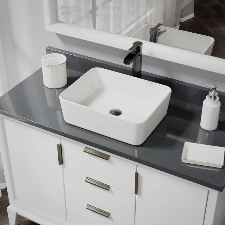 Rene by Elkay R2-5007-B-R9-7007 Biscuit Porcelain Vessel Sink with Vessel Faucet and Vessel Pop-Up Drain (
