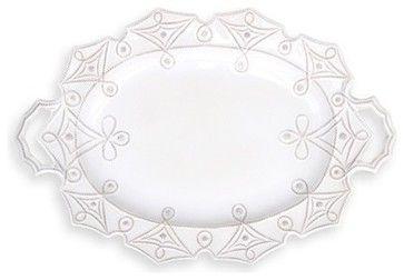 Juliska Jardins du Monde Large-Handled Turkey Platter, Whitewash - transitional - Serveware - Chelsea Gifts Online