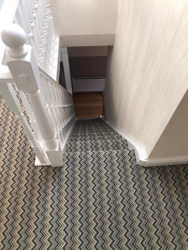 Zig Zag Carpet For Stairs Is The New Striped Carpet Carpet | Zig Zag Carpet On Stairs | Mohawk Patterned Carpet | Stair Triangular Landing | Before And After | American Style | Silver Grey