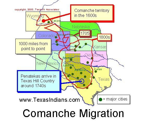 The Comanche Indians, Texas Indians.  They began as an offshoot of (and spoke the same language as) the Shoshones, apparently about the time the Shoshones and other plains and mountain tribes acquired horses.