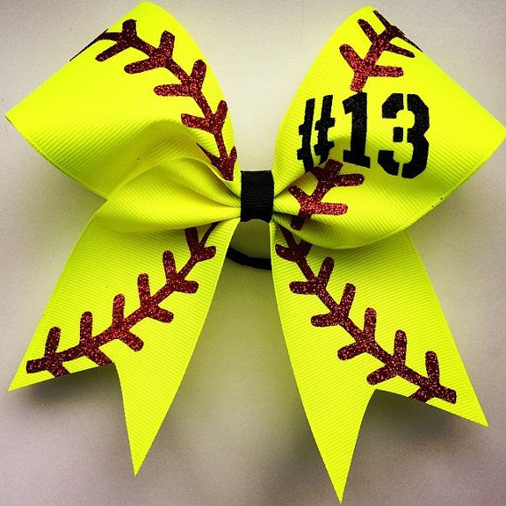 "Softball bow with your number. approximately 6""by6"". made with 2.25 grosgrain ribbon and glitter by bragabitbows. Explore more products on http://bragabitbows.etsy.com"