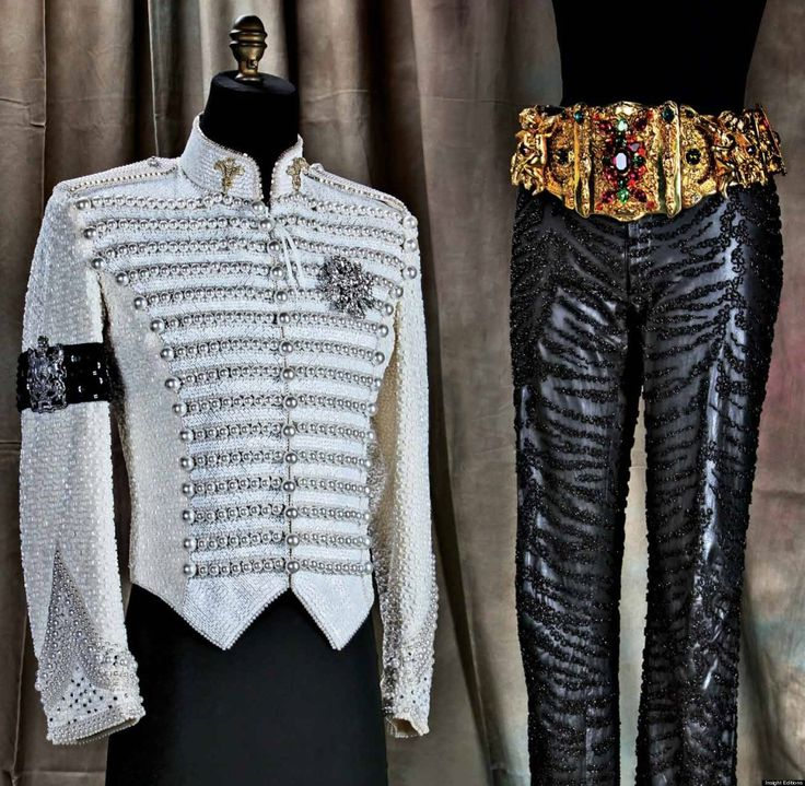 """This is the outfit Michael was buried in, according to Michael Bush, the man who was Michael's official dresser for over 25 years.  Bush designed the outfit, based on Michael's favorite jacket and pants at the request of the Jackson family.  Bush says Michael told him years ago, """"If something happens to me don't let them put a glove on me.  That's for Billie Jean.""""  So Michael was not buried wearing a glove, but one was placed in his coffin.  I just read Bush's book KING OF STYLE-stunning…"""