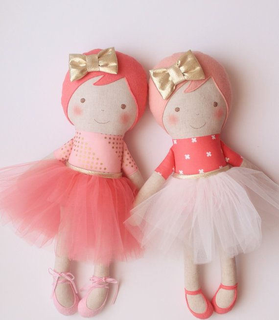 Handmade ballerina doll with blush felt hair white tulle por blita