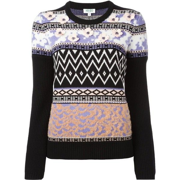 Kenzo flower embellished jumper (30,375 PHP) ❤ liked on Polyvore featuring tops, sweaters, black, long sleeve jumper, long sleeve sweater, colorful tops, flower sweater and embellished tops