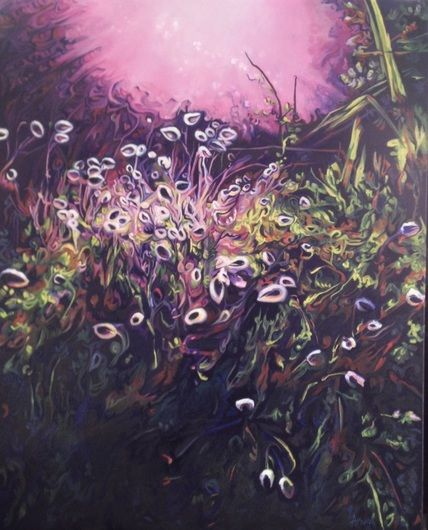 Hare's-tails and the Harvest Sun (Te Henga, New Zealand). Oil painting by Arwen Flowers - www.kiwiartist.com