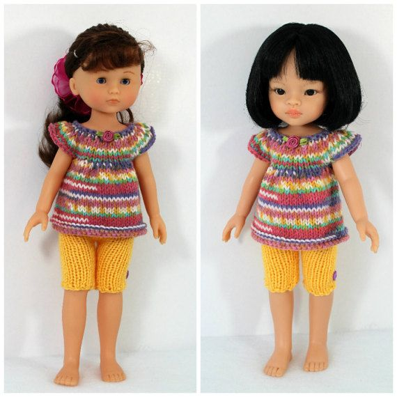 Knitted top and shorts for Paola Reina doll by CSKrafdollscloset
