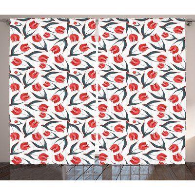 "Latitude Run Latia Graphic Print & Text Semi-Sheer Rod Pocket Curtain Panels Size: 108"" W x 90"" L"