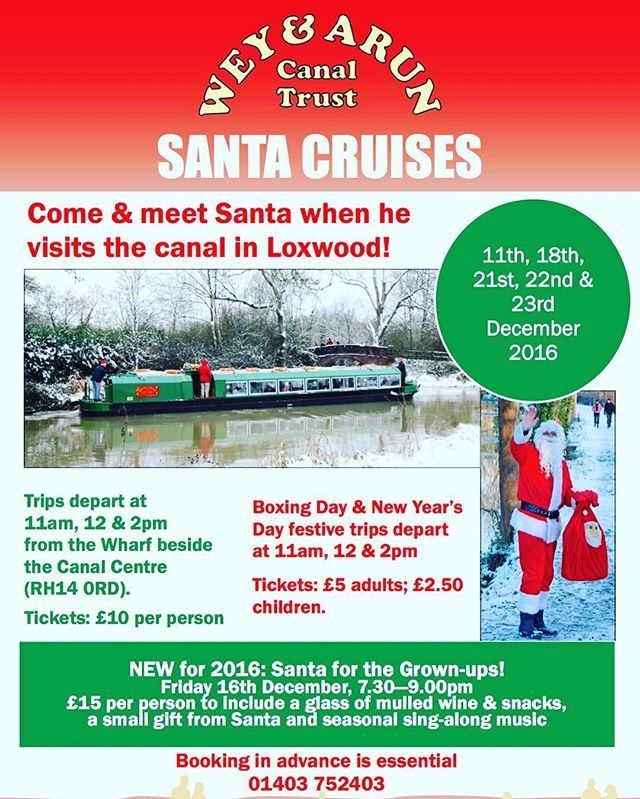 It's less than 2 months until Santa's first visit to the canal at Loxwood! Tickets are £10 with trips at 11am, 12pm and 2pm on five dates in December! Early booking is essential to avoid disappointment so visit our website at  www.weyandarun.co.uk/tripboats call 01403 7532403.