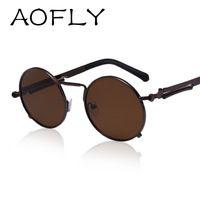 AOFLY Moda Óculos De Sol Dos Homens Retro Steampunk Óculos de Sol Óculos Pernas Óculos UV400 Revestimento de Lente Dos Óculos De Sol Espelho Círculo Redondo Especial