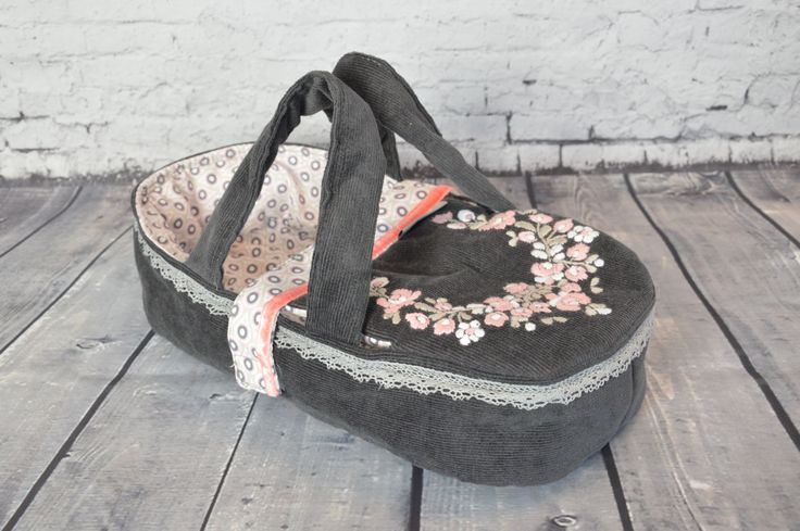 doll carrier doll bed for children - bassinet, READY TO SHIP - doll bed - for dolls puppets soft animals- anthrazite pink - hand embroidered by BagitKid on Etsy